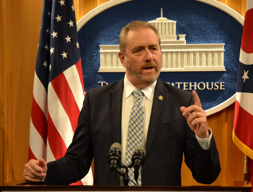 Ohio Attorney General Dave Yost at a press conference at the Statehouse in September 2019