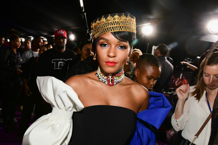 Janelle Monae attends the Hollywood premiere of <em>Black Panther</em> in January 2018.
