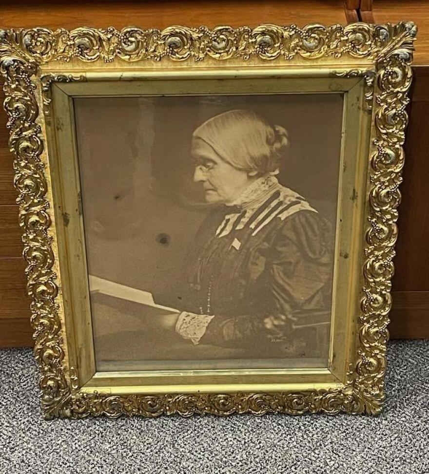 The framed portrait of Susan B. Anthony found by attorney David Whitcomb in an attic in Geneva, N.Y.