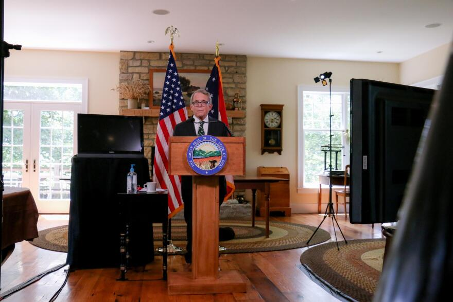Ohio Gov. Mike DeWine gives a press conference from his home in Cedarville.