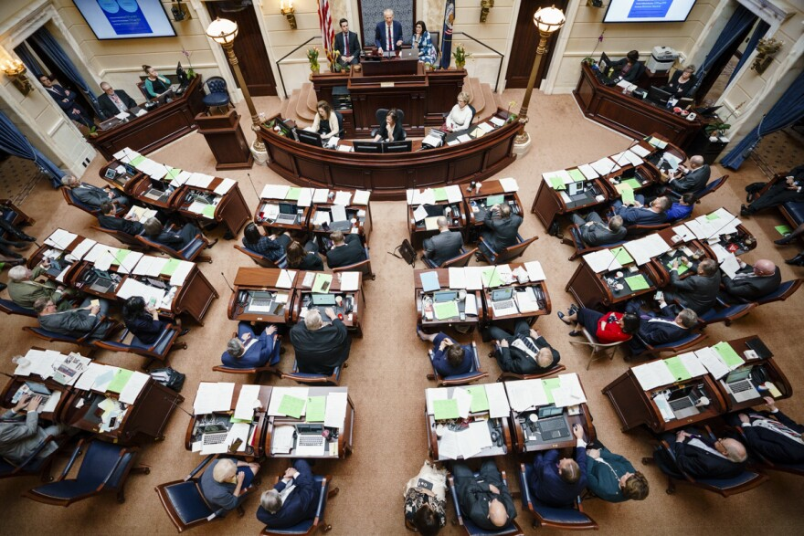 Photo of Utah Senate floor from above.