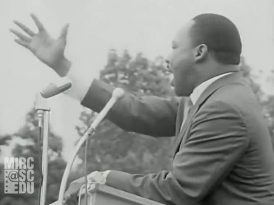 Dr. Martin Luther King Jr. speaking in Kingstree, S.C., as seen in the video clip.