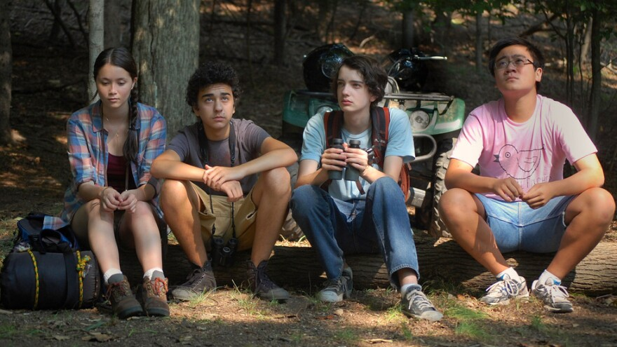 A ragtag group of amateur birders pursue a rare North American duck in <em>A Birder's Guide to Everything</em>. Pictured (from left): Katie Chang, Alex Wolff, Kodi Smit-McPhee and Michael Chen.