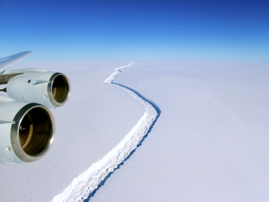 The massive crack first opened up in the Larsen C ice shelf back in 2014; by the end of last week, a roughly 3-mile sliver of ice was all that connected the iceberg to the shelf.