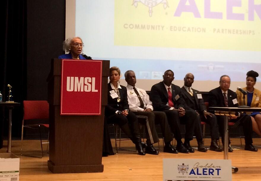 Frankie Muse Freeman speaks at the Sigma Gamma Rho town hall on Saturday, February 21, 2015.