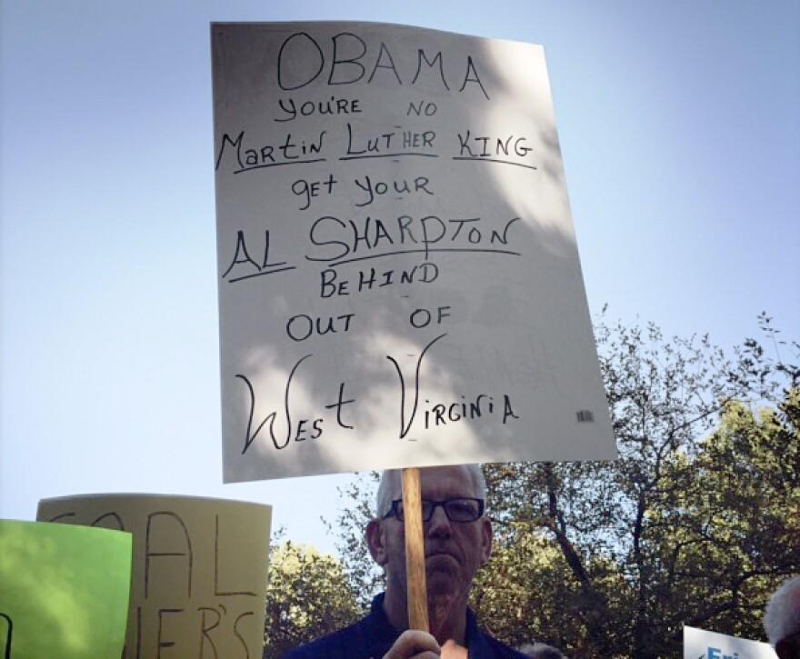 A sign greeting President Obama in Charleston, W.V.