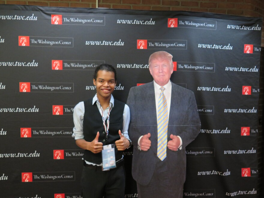 photo of student with Donald Trump cutout