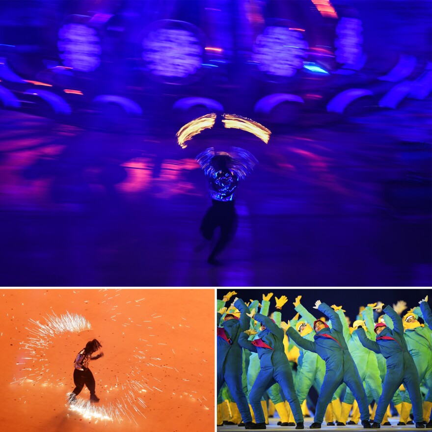 Performers entertain the crowd during the opening ceremony.