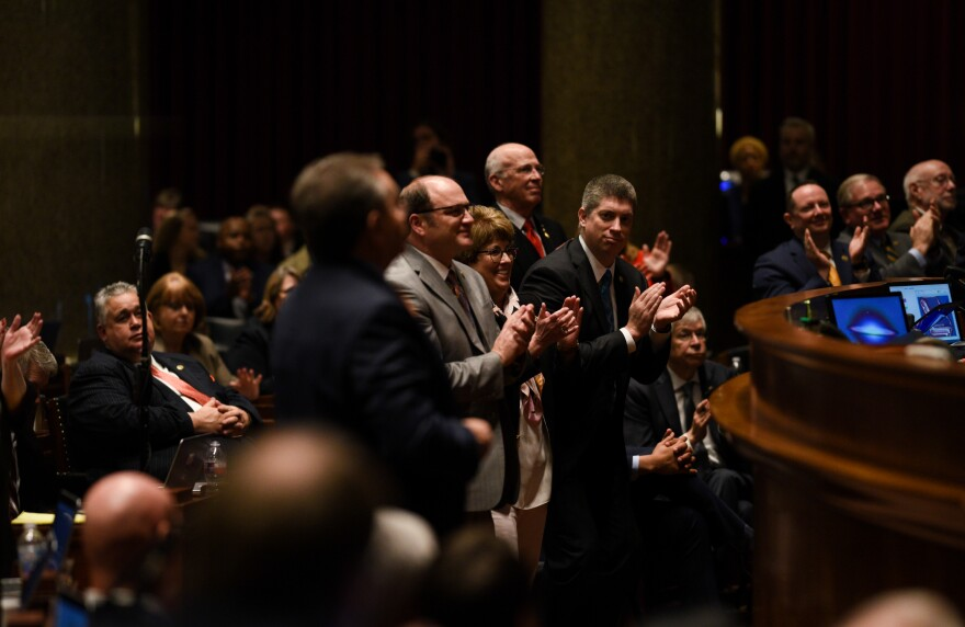 Missouri senators applaud Gov. Mike Parson during the 2020 State of the State Address held January 15.