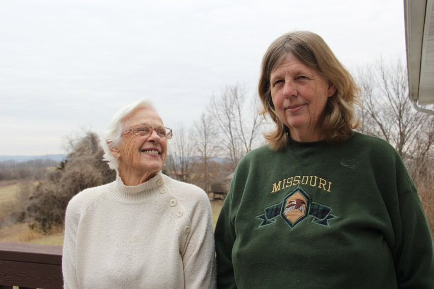 Labadie residents Ruth and Nancy Campbell at their backyard deck.