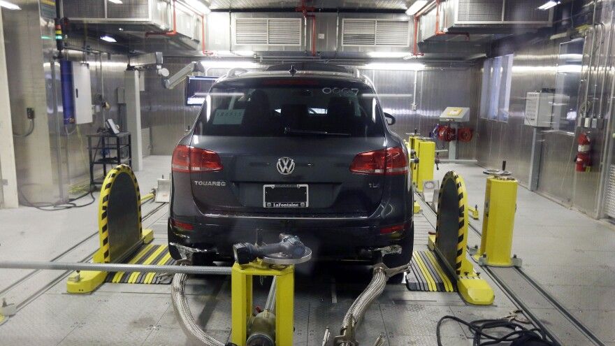 A Volkswagen Touareg diesel is tested in the Environmental Protection Agency's cold temperature test facility on Oct. 13.