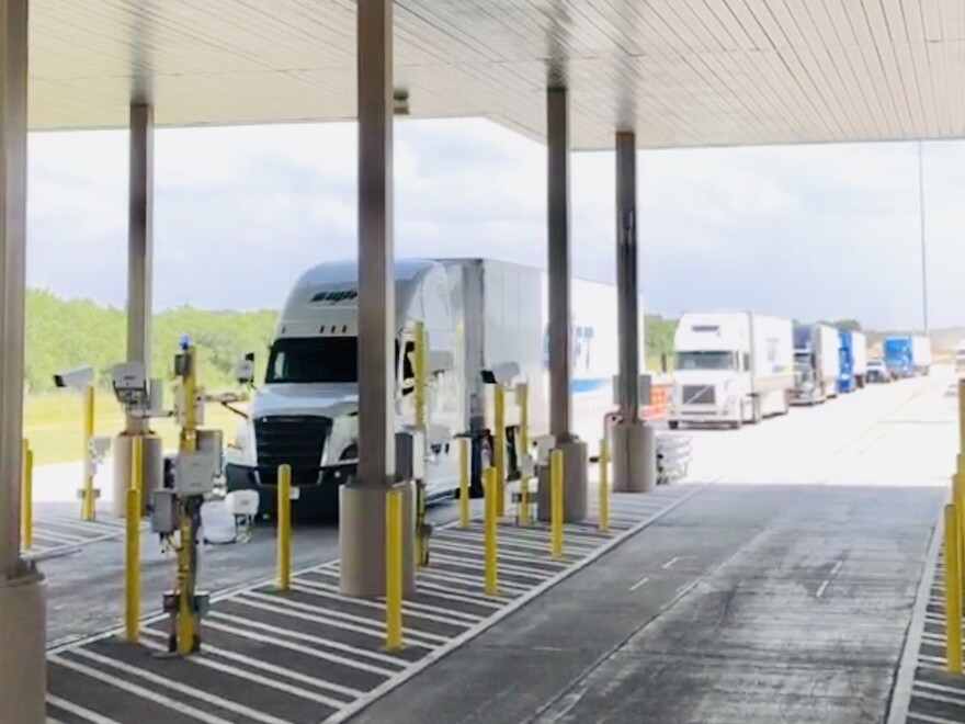Trucks await screening at the Falfurrias checkpoint, 60-plus miles north of the border.