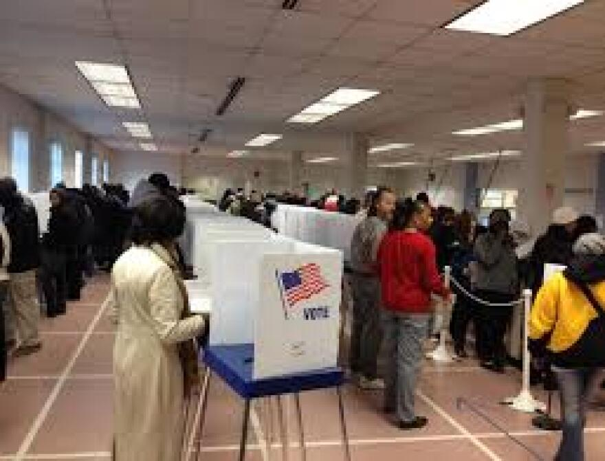 A photo of voters at a polling place