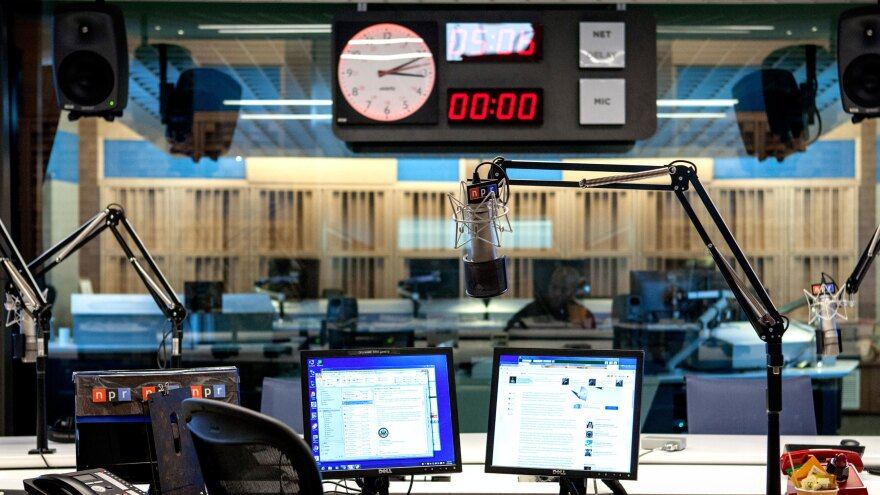 A broadcast control room at NPR's headquarters in Washington, D.C.
