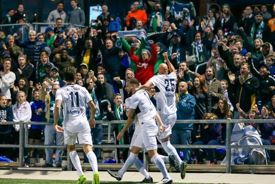 Saint Louis FC celebrates during a winning game against Ottawa Fury FC on April 1.