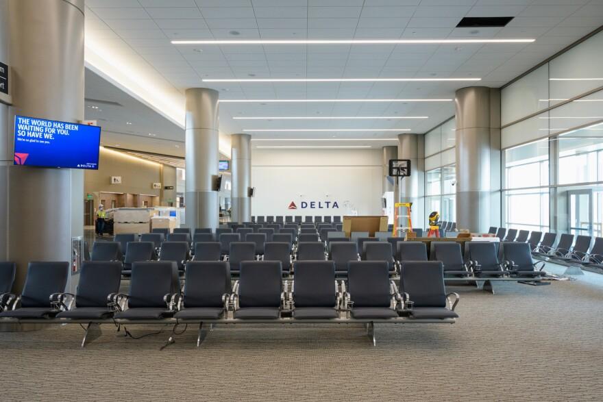 A photo of an empty Delta gate at Salt Lake International Airport.