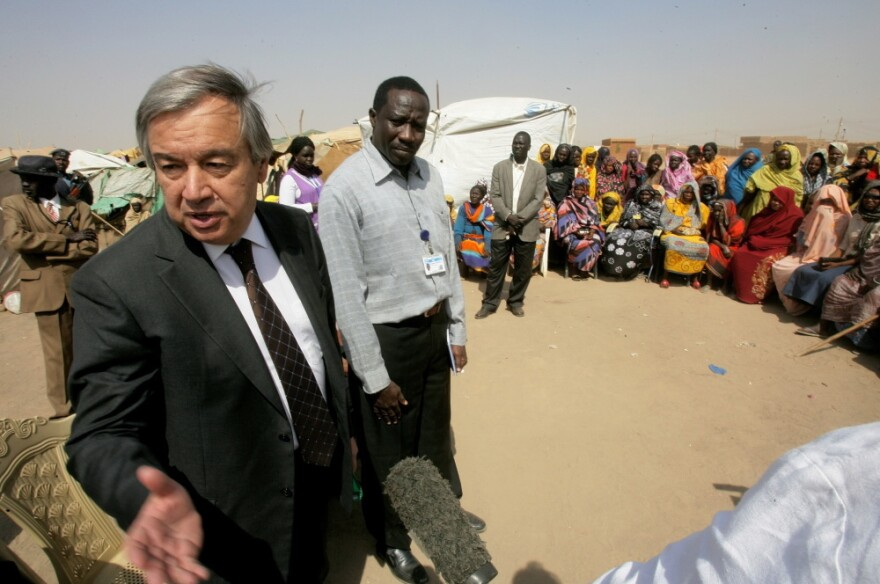 Antonio Guterres, the United Nations High Commissioner for Refugees, speaks to the press during a visit to camp Andalusia for internally displaced people from southern Sudan, some 30 kms south of the capital Khartoum.