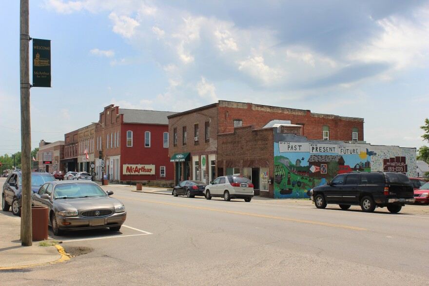 Main Street in McArthur in Vinton County, Ohio. Though the opioid crisis endures in Ohio, the problem is now compounded by the resurgence of methamphetamine addiction.
