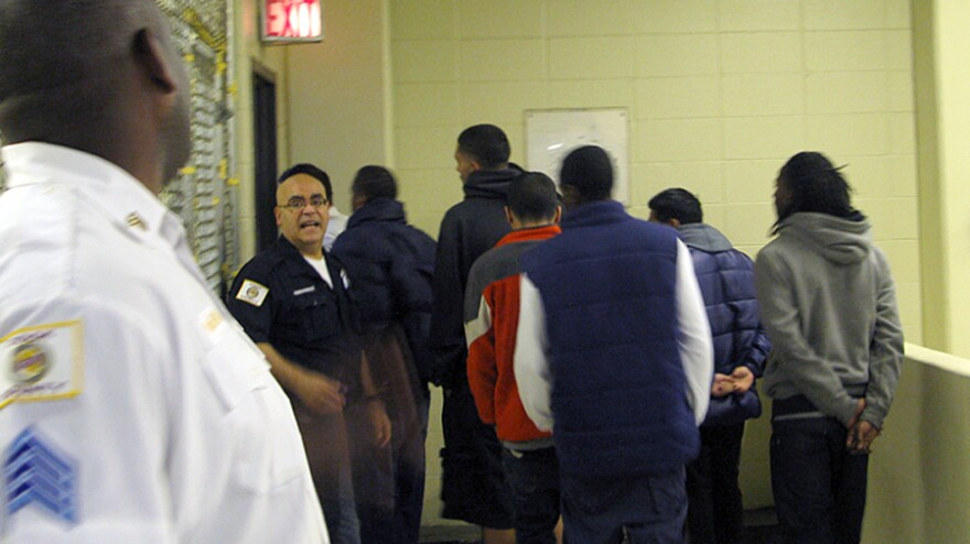 Cook County Jail inmates head off to bond court after being screened for mental illness. If they then don't get released, the jail will separate the mentally ill from the other inmates.