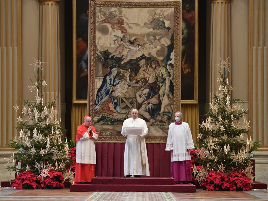 "Pope Francis delivers the Urbi et Orbi (Latin for ""to the city and to the world"") Christmas Day blessing in St. Peter's Basilica, at the Vatican, Dec. 25, 2020."
