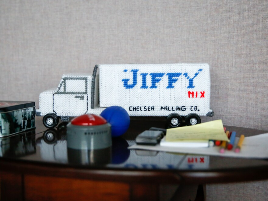 """One of the many """"Jiffy"""" themed toys, collectibles and trinkets that fill the offices of the Chelsea Milling Co."""
