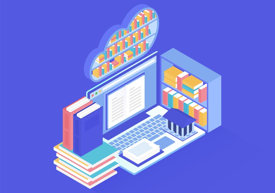 Online library design in isometric vector illustration