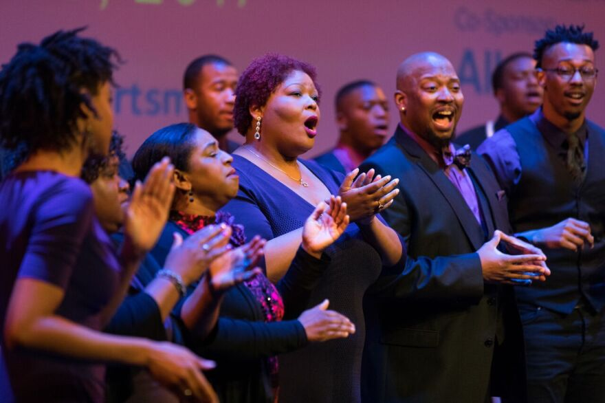 Left to right. Chorus members Samantha Madison, Kelli Lowe, Melissa Pickens, Khalid McGhee, De-Rance Blaylock, Robert Crenshaw, Duane Martin Foster, a NYC chorus member and Gheremi Clay in the October production of The Drum Major Instinct.