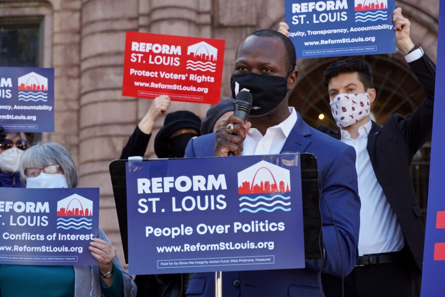 """Yinka Faleti, the former executive director of Forward Through Ferguson, said Tuesday, Feb. 23, 2021 he supports the measure. """"We can be a city that has a legislative body that the people pick, rather than essentially the other way around. We can be a city where ethics isn't just a nice word. It is the way of doing business,"""" he said."""