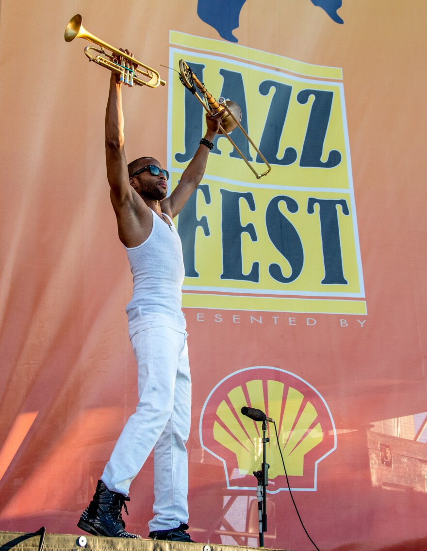 Trombone Shorty takes the stage for Jazz Fest 2017's closing set.