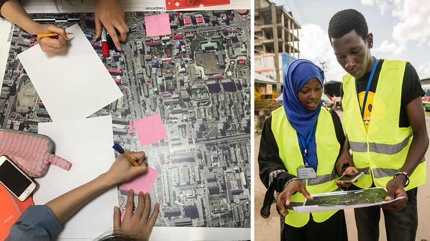 "Left: Volunteers take part in a ""mapathon"" organized by the Humanitarian OpenStreetMap Team. Right: OpenStreetMap contributors pinpoint dump sites along rivers and waterways in Dar es Salaam in an effort to predict and prevent flooding in the Tanzanian city."