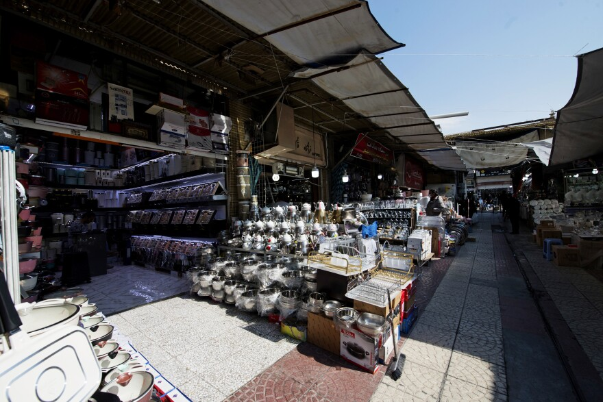 A bazaar in the Shoosh area of Tehran that is usually packed with people was almost empty by late last month. Shopkeepers have seen a drop in customers since the coronavirus outbreak.