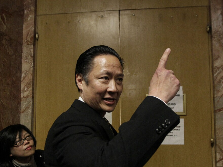 San Francisco Public Defender Jeff Adachi, who died in February, is seen here in 2012. A freelance journalist says his home and office were raided by San Francisco police after he refused to name the source who leaked a police report concerning Adachi's death.
