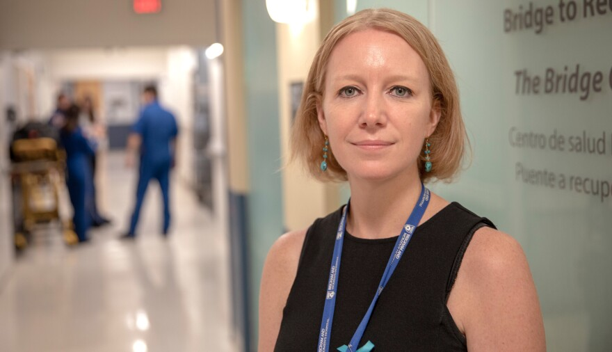 "Dr. Christin Price runs the Bridge Clinic at Brigham and Women's Hospital in Boston. ""A lot of people did sort of look aghast,"" Price says, when she and her colleagues first suggested their patients could handle getting IV treatments at home."