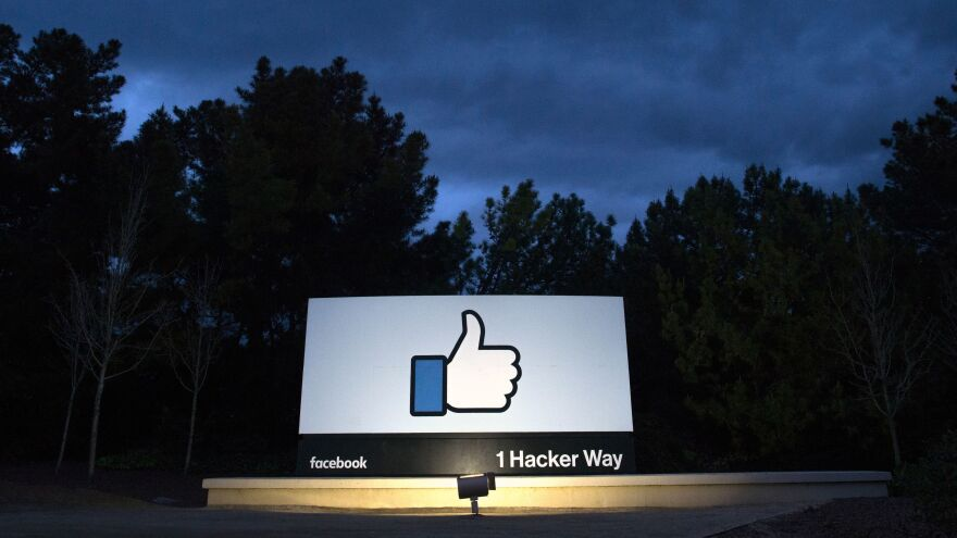 A sign at the entrance to Facebook's corporate headquarters location in Menlo Park, California.