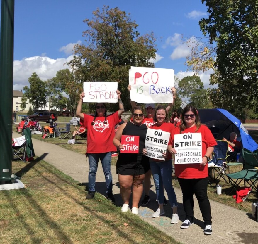 The Montgomery County Children Services workers union on strike Sept. 23, 2019.
