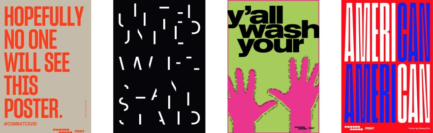 "Posters by (from left) <a href=""https://www.pentagram.com/about/emily-oberman"">Emily Oberman </a>and <a href=""https://www.instagram.com/thelastvarner/"">Matt Varner,</a> <a href=""http://paulsahre.com/""> Paul Sahre,</a><a href=""http://www.mattvarner.com/about""></a> <a href=""http://www.olabaldych.com/"">Ola Baldych,</a> and <a href=""http://zz-is.it/"">Zipeng Zhu.</a>"