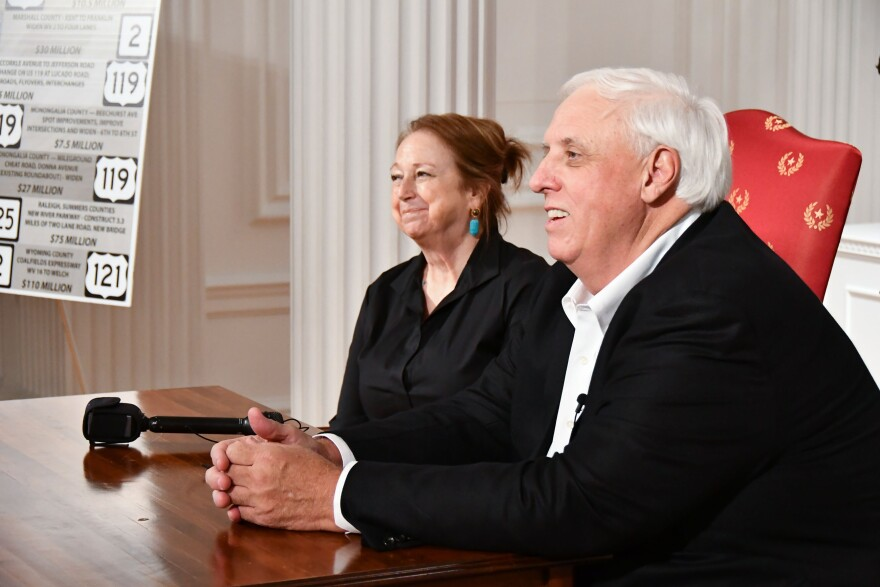 Gov Jim Justice, accompanied by First Lady Cathy Justice, celebrated the Road Bond vote during a press conference on Saturday, October 7, 2017.