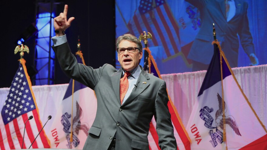 Former Texas Gov. Rick Perry speaks at the Iowa Faith & Freedom 15th Annual Spring Kick Off in Iowa in April.