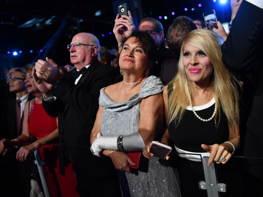 Supporters crowded the Freedom Ball to see President Trump dance with first lady Melania Trump Friday.
