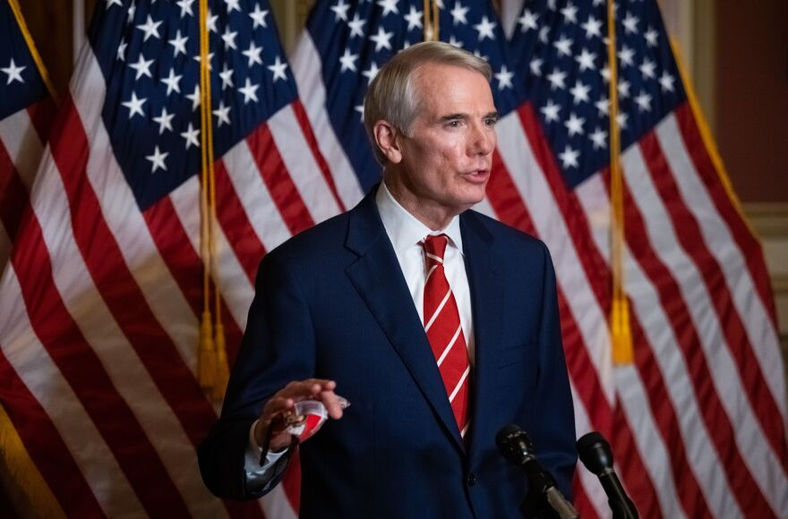 Sen. Rob Portman, R-Ohio, seen here during a press conference in October, announced he won't run for reelection in 2022, citing hyper-partisanship in Congress.
