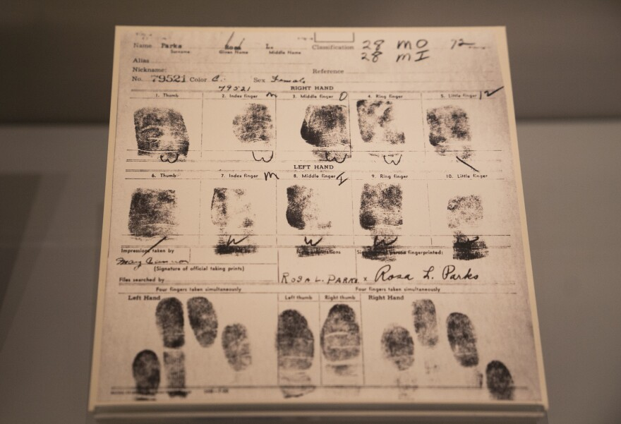 Fingerprints taken after Parks' arrest are on display at the Library of Congress.