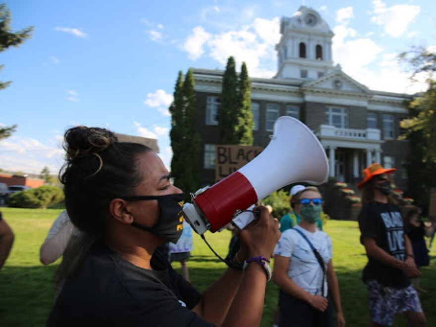 Josie Stanfield leads a Black Lives Matter demonstration in Prineville, Ore.