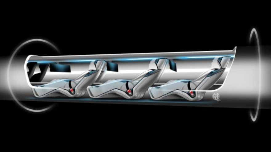 A rendering of a Hyperloop pod.