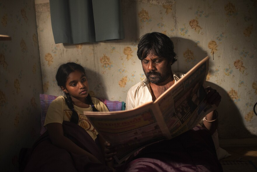 Just like his character Dheepan, Antonythasan Jesuthasan was a separatist fighter in Sri Lanka's civil war. He fled the country and eventually came to France illegally. He's pictured above with Claudine Vinasithamby (Illayaal).