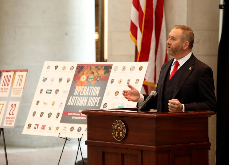 Attorney General Dave Yost announcing the results of Operation Autumn Hope at a press conference at the Statehouse.
