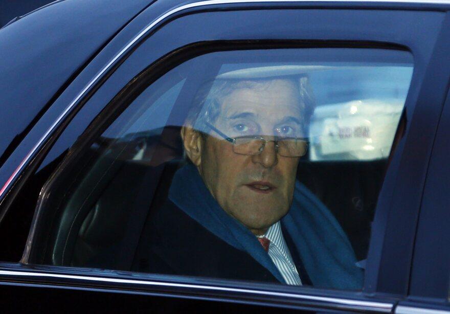Secretary of State John Kerry arrives at the Geneva International airport in Geneva, Switzerland, on Saturday.