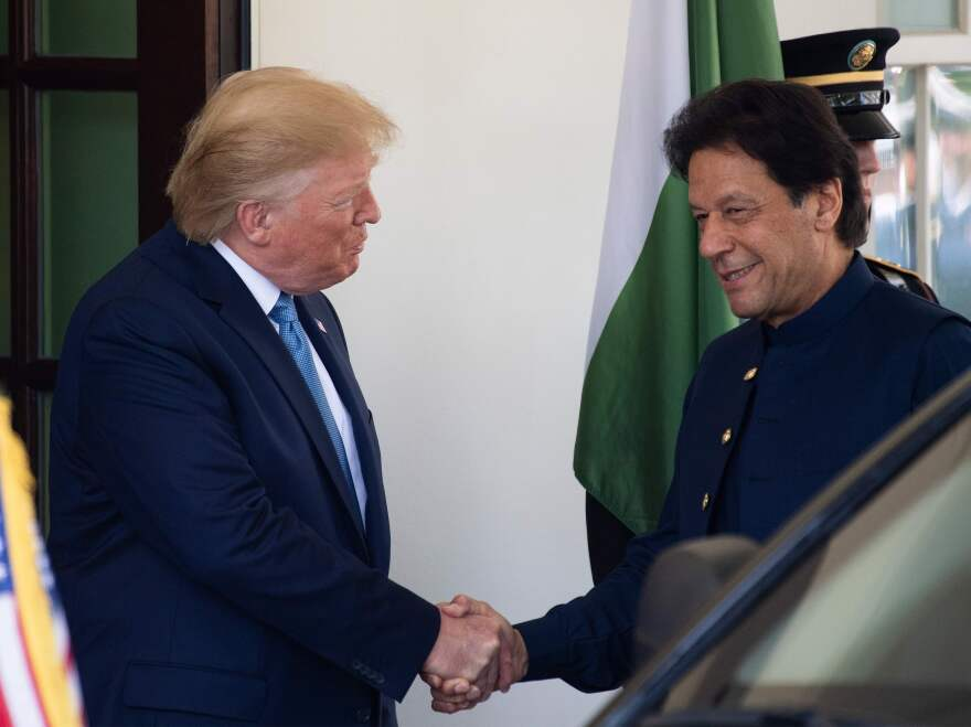 President Trump greets Pakistani Prime Minister Imran Khan at the White House on Monday.