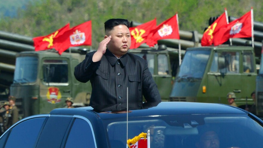 North Korean leader Kim Jong Un attends the combined fire demonstration of the services of the Korean People's Army in celebration of its 85th founding anniversary in a photo released on April 26.