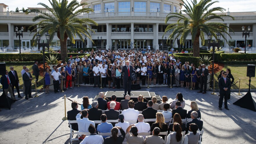 Donald Trump speaks during an campaign event with employees at Trump National Doral, Tuesday in Miami.
