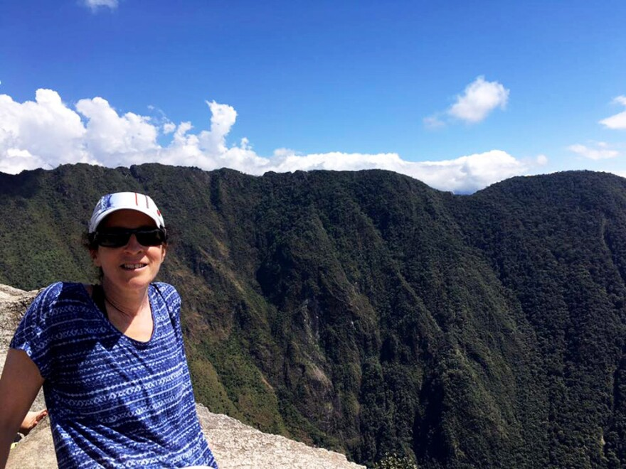 Karyn Miller-Medzon on Wayna Picchu, a mountain that rises over Machu Picchu. She made it to the top over the weekend. (Karen Miller-Medzon/Here & Now)